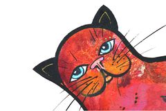 De met de hand geschilderde Illustratie van de Kat Stock Afbeelding