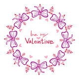 De met de hand geschreven kaart van de valentijnskaartendag met leuk kader Royalty-vrije Stock Foto