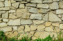 De met de hand gemaakte cobble muur van de steentextuur met verschillende grootte van materialen royalty-vrije stock foto's