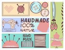 De met de hand gemaakte kentekens die van de handwerkambacht banners naaien vormen het maken de elementen vectorillustratie van h vector illustratie
