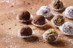 De met de hand gemaakte Truffels van de Chocolade Stock Foto