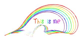 De met de hand geschreven inschrijving dit is me in verschillende kleuren van de regenboog royalty-vrije illustratie