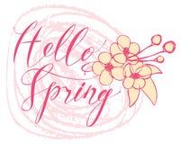 De met de hand geschreven lente van inschrijvingshello met bloemen Royalty-vrije Stock Afbeeldingen