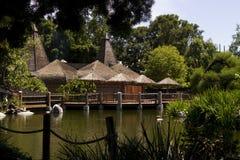 De met stro bedekte dakbouw in de wildernis Royalty-vrije Stock Foto