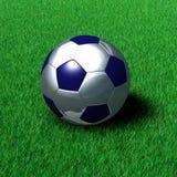 De metaal Bal van het Voetbal op Gras Royalty-vrije Stock Afbeeldingen