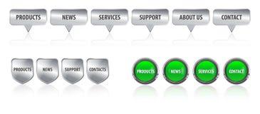 De metaal en glanzende bar van het websiteontwerp, menuelementen stock illustratie