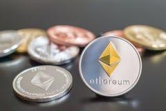 De metaalmuntstukken van Cryptocurrencyethereum royalty-vrije stock foto