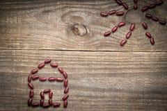 de metafoor van het ecohuis van rode bonen Stock Foto's