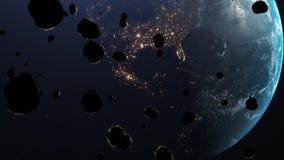 De meteoren vallen de aarde aan vector illustratie