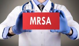 De methicillin-bestand goudhoudende Stafylokok van MRSA - stock foto