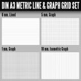 De metrisch lijn van DIN A3 en grafieknet Stock Afbeeldingen
