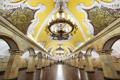 De metro post Komsomolskaya in Moskou, Rusland Royalty-vrije Stock Afbeelding