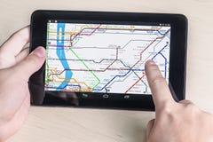 De metrodiagram van New York op de tablet Royalty-vrije Stock Afbeelding
