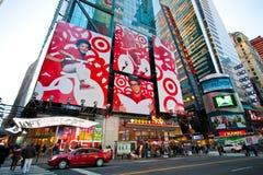 De metropost van het Times Square Stock Afbeeldingen