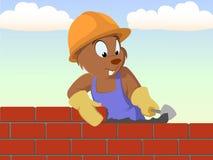De metselaar van de bever bouwt de bakstenen muur stock illustratie