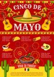 De Mexicaanse affiche van de de vakantiefiesta van Cinco de Mayo vector