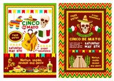 De Mexicaanse Cinco de Mayo-banner van de partijuitnodiging