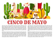 De Mexicaanse Cinco de Mayo-vectoraffiche van de vakantiefiesta