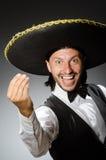 De Mexicaanse mens draagt sombrero op wit Stock Foto