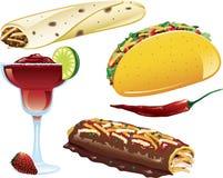 De Mexicaanse pictogrammen van het Voedsel vector illustratie