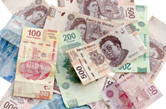 De Mexicaanse rekeningen van de Peso'smunt Royalty-vrije Stock Foto's