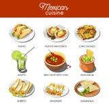 De Mexicaanse traditionele schotels van de voedselkeuken van maaltijdschotels Stock Afbeelding