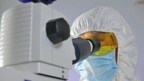 De microbioloog onderzoekt een steekproef van bacteri?n onder de microscoop stock videobeelden