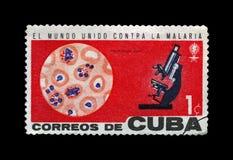 de microscoop, bloed, voert een campagne om malaria, circa 1962 uit te roeien , stock afbeeldingen