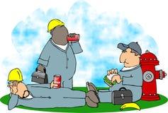 De middagpauze van de bouw royalty-vrije illustratie