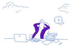 De middagpauze van de de werkplaatskoffie van de zakenmanzitting ontspant concepten bedrijfsmensenhanden achter hoofdportret hori stock illustratie