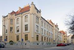De middelbare school van de Jugendstil in Bratislava, Slowakije Royalty-vrije Stock Foto's