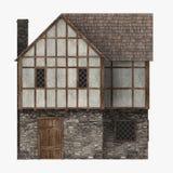 De middeleeuwse bouw - gemeenschappelijk huis zijaanzicht Stock Foto
