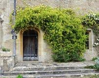 De middeleeuwse bouw met houten deur Stock Foto's