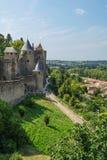 De middeleeuwse citadel van Carcassone, Frankrijk Stock Foto