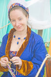 De middeleeuwse Dame kleedde zich in blauw. Royalty-vrije Stock Afbeeldingen