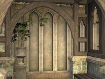 De middeleeuwse die Bouw van het Overwelfde galerijpaviljoen in 3D wordt teruggegeven stock illustratie