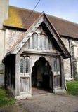 De middeleeuwse ingang van de Kerk stock afbeelding