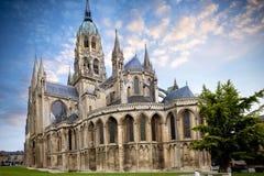 De middeleeuwse Kathedraal van Bayeux van Notre Dame, de afdeling van Calvados van Normandië, Frankrijk royalty-vrije stock foto