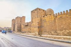 De middeleeuwse muren van Kaïro, Egypte royalty-vrije stock foto