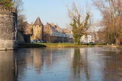De middeleeuwse muur met bevroren pond DE vijf koppen royalty-vrije stock foto