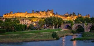De middeleeuwse Oude Stad van Carcassonne, Languedoc, Frankrijk royalty-vrije stock afbeelding