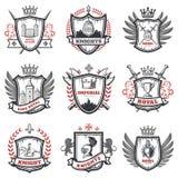 De middeleeuwse Reeks van Riddercoats of arms Stock Afbeelding
