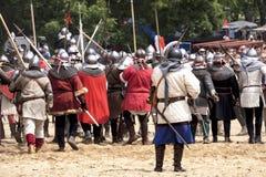 De middeleeuwse Ridders vechten in Praag Stock Afbeelding