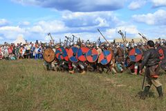 De middeleeuwse slag toont Voinovo Pool (het Gebied van Strijders) Royalty-vrije Stock Fotografie