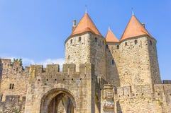 De middeleeuwse stad van Carcassonne Stock Afbeeldingen