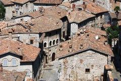 De middeleeuwse stad van Gubbio (Italië) stock foto's