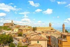 De middeleeuwse stad van Montalcino royalty-vrije stock foto