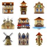 De middeleeuwse vectorreeks van gebouwenpictogrammen Stock Fotografie