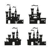 De middeleeuwse vectorreeks van het kasteelpictogram Royalty-vrije Stock Foto's