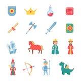 De middeleeuwse vlakke geplaatste pictogrammen van spelensymbolen Stock Foto